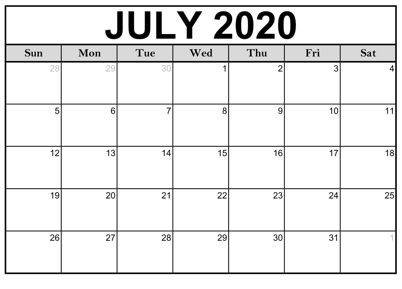 Free Printable July 2020 Calendar - Editable Templates