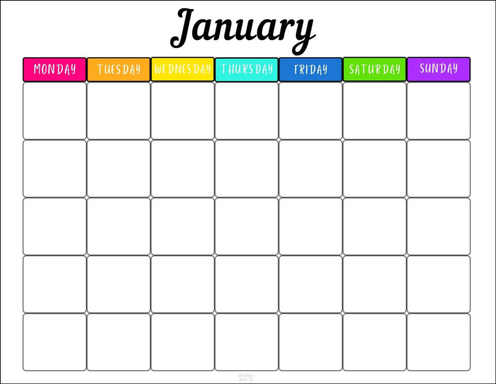 Free Printable Monthly Schedule Template-Two Cute Designs!