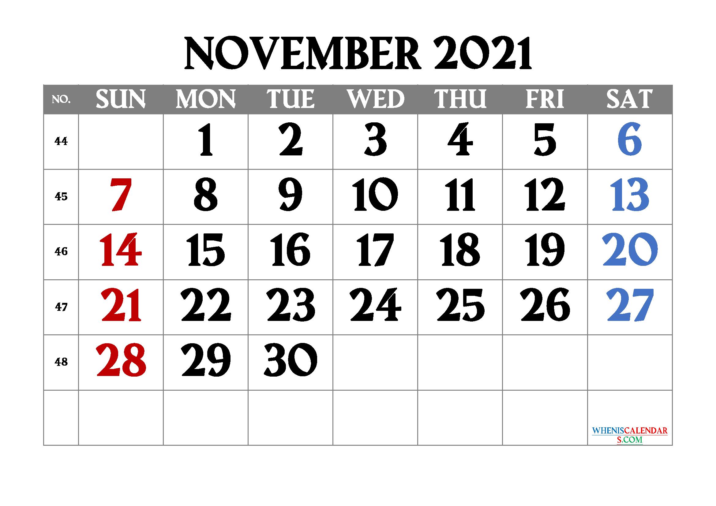Free Printable November 2021 Calendar | Template M21Amagro1