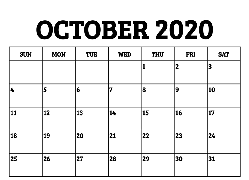 Free Printable October 2020 Calendar Blank Template With
