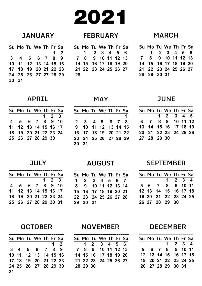Free Printable One Page Calendar 2021 Template [Pdf