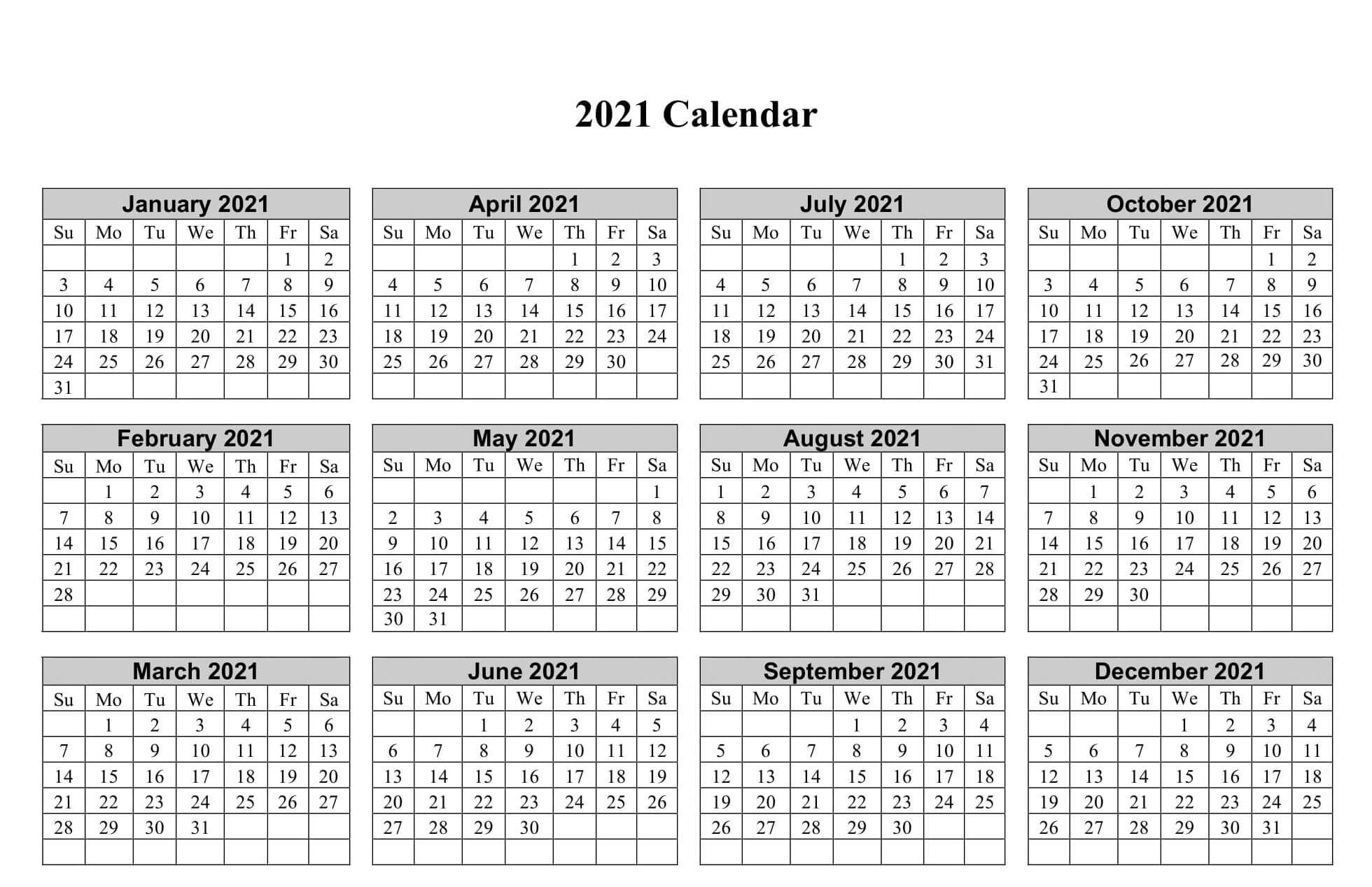 Free Printable Small Calendar 2021 With Holidays - One