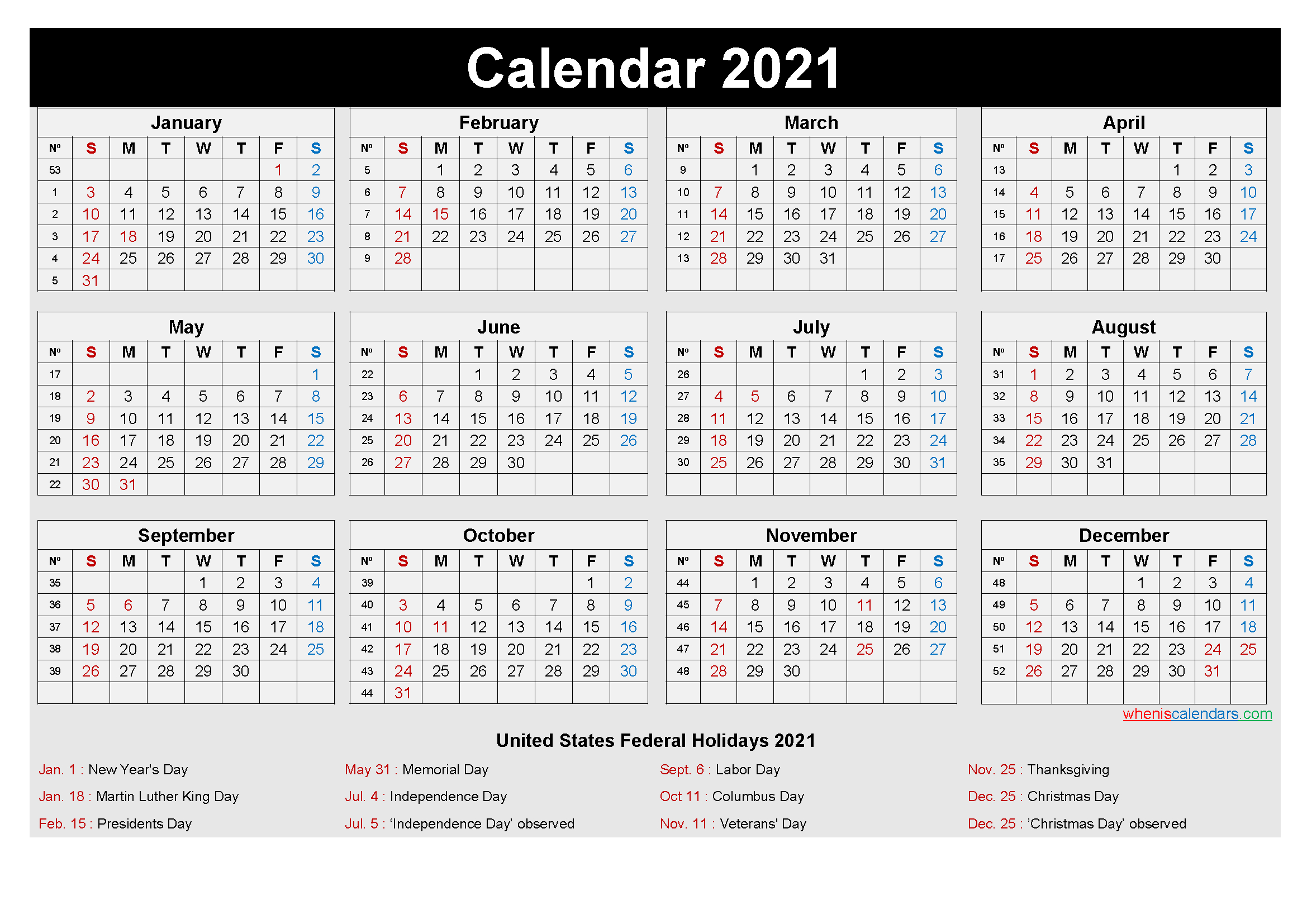 Free Printable Yearly 2021 Calendar With Holidays As Word, Pdf