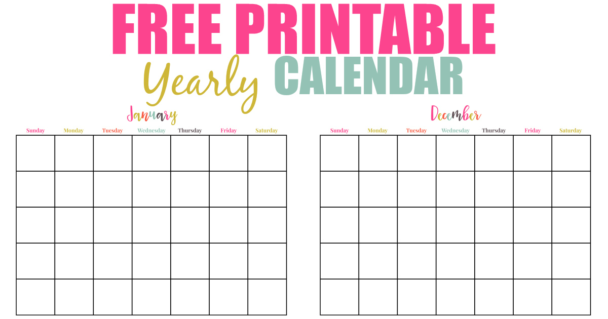 Free Printable Yearly Calendar - Extreme Couponing Mom