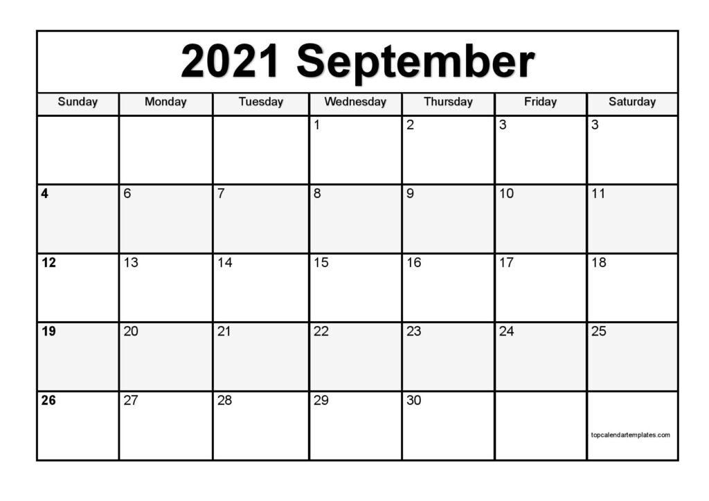 Free September 2021 Printable Calendar - Monthly Templates