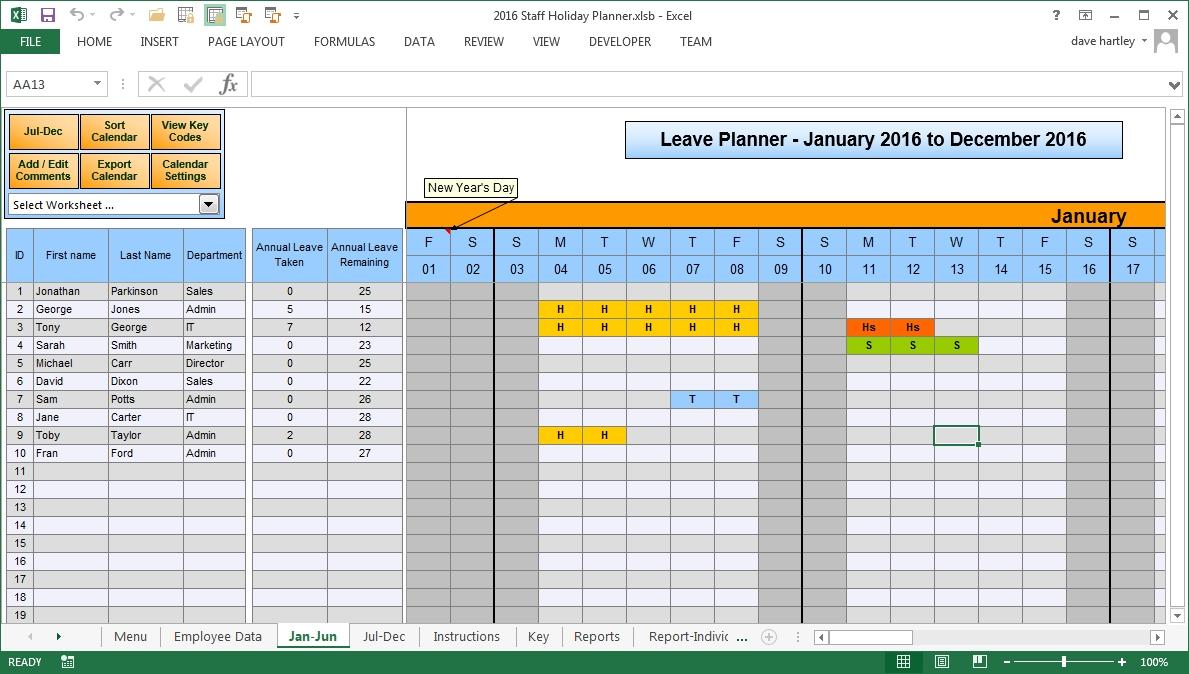 Free Vacation Plan Excel 2021 | Calendar Template Printable