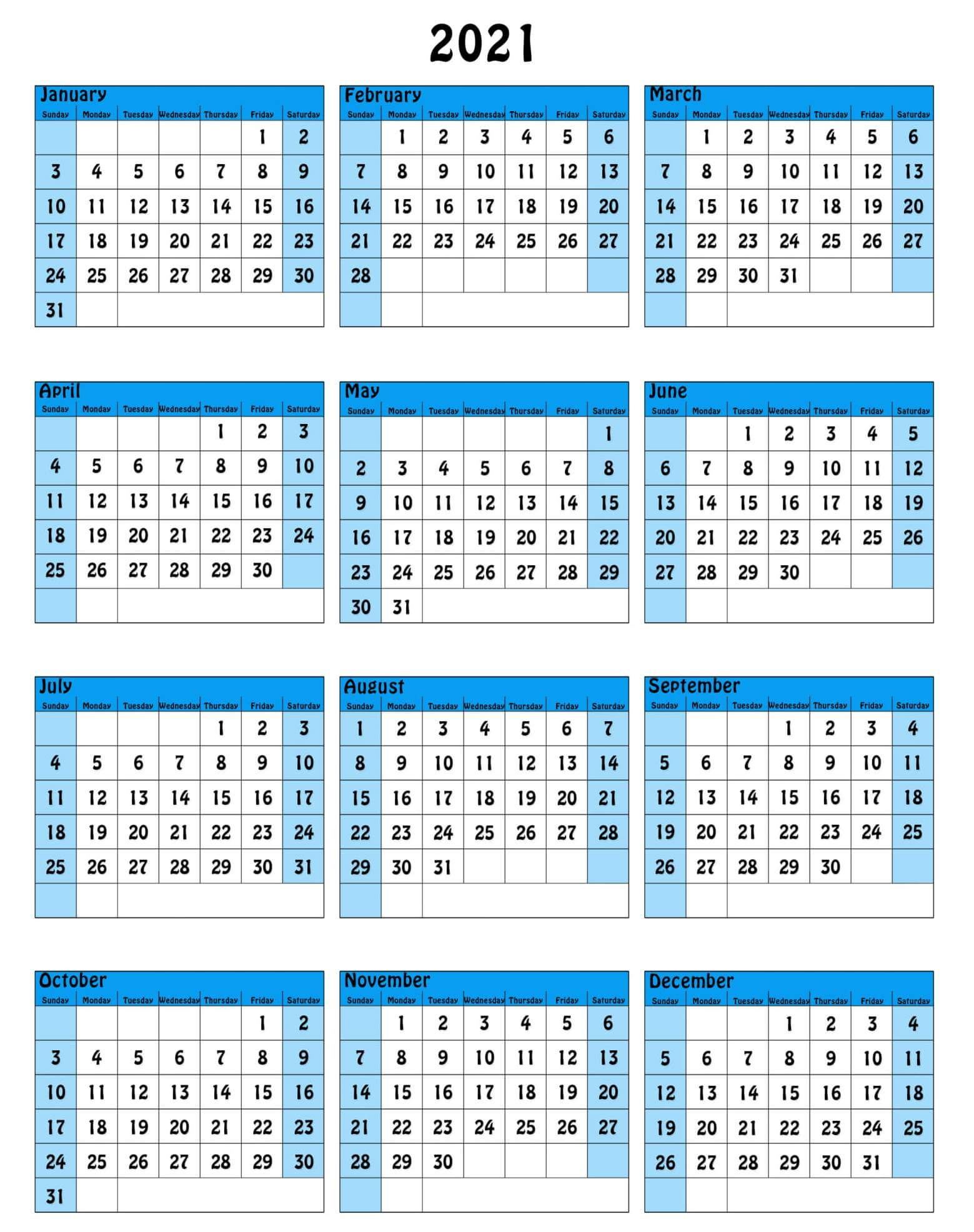 Free Yearly Calendar With Notes 2021 Template - One