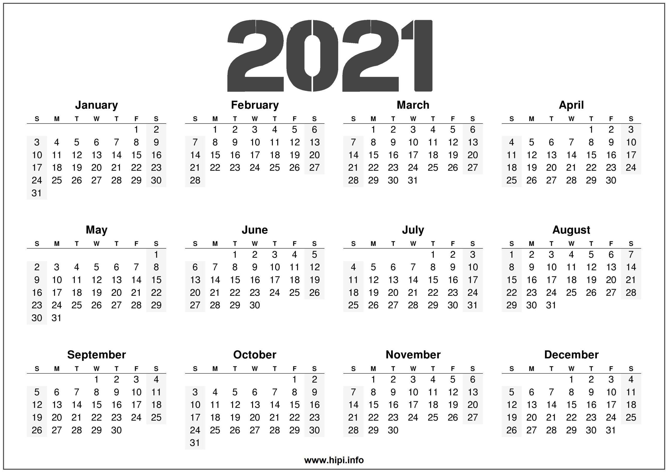 Full Year 12 Month 2021 Calendar Printable | Printable March