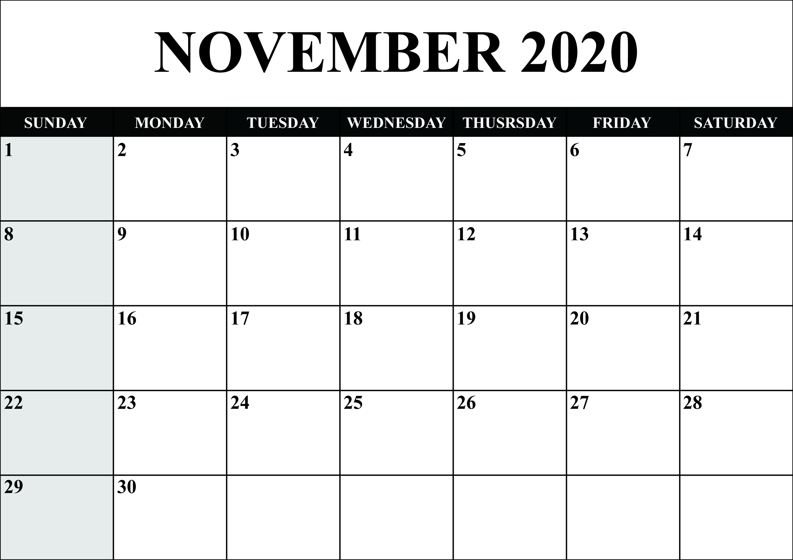 Get 2020 Printable Calendar With Space To Write | Calendar