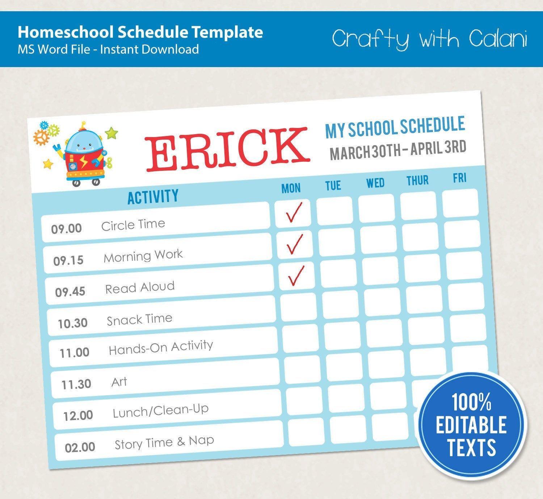 Home School Schedule Template, Editable Homeschool Planner