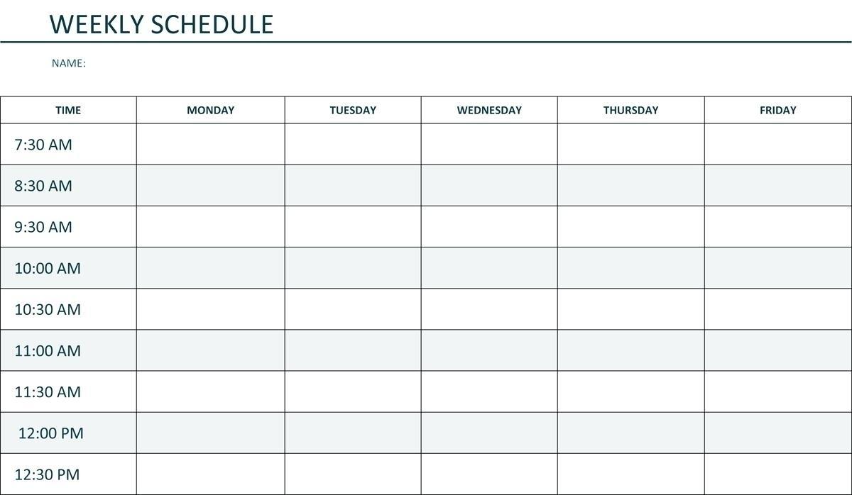 Image Of Weekly Calendar Monday Through Sunday   Calendar