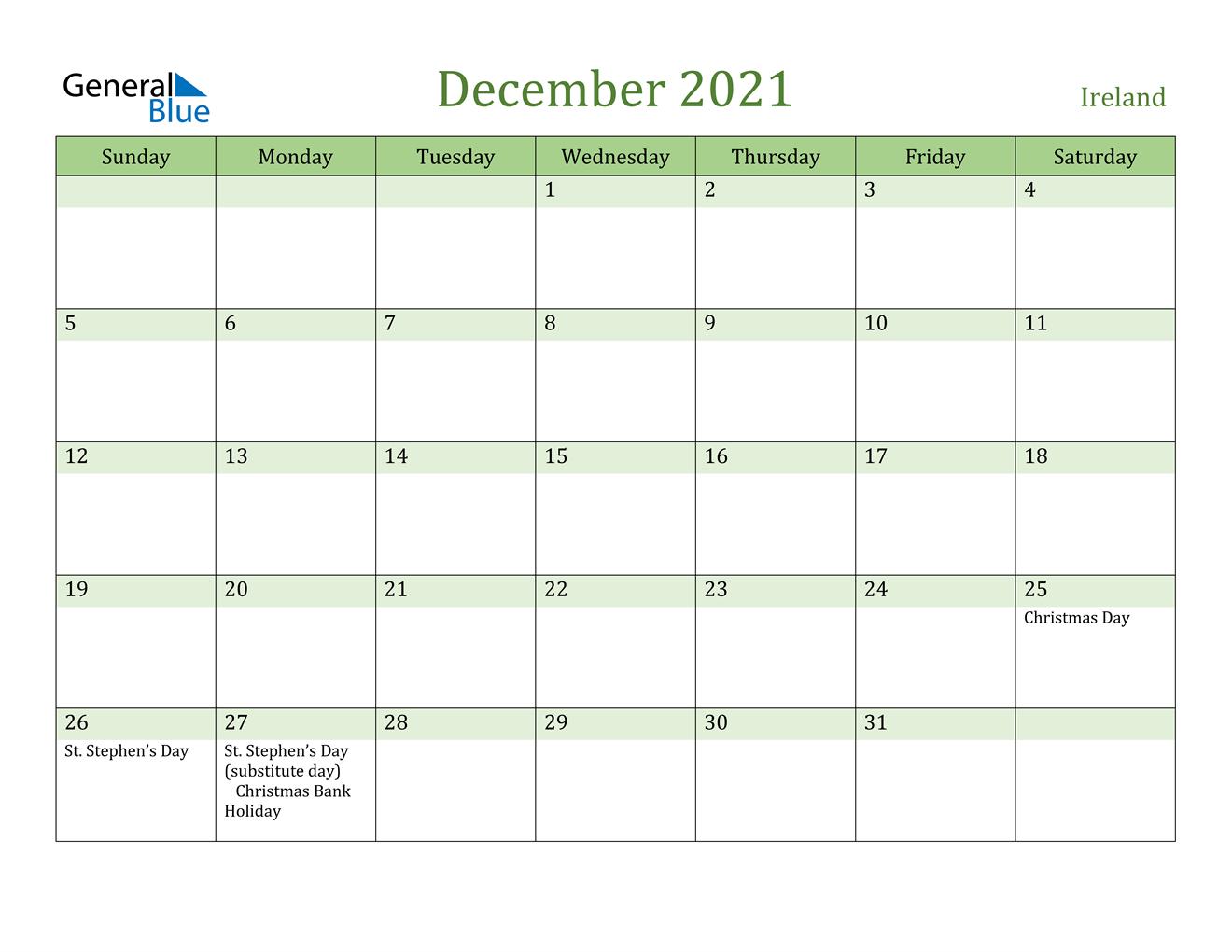 Ireland December 2021 Calendar With Holidays