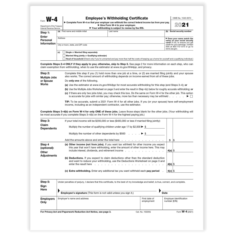 Irs W-4 Form | Hrdirect