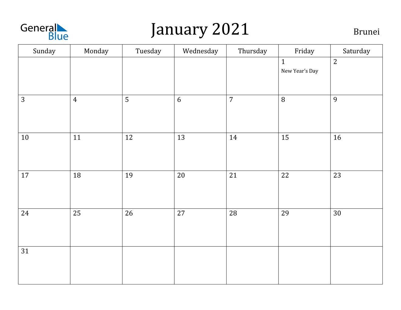 January 2021 Calendar - Brunei