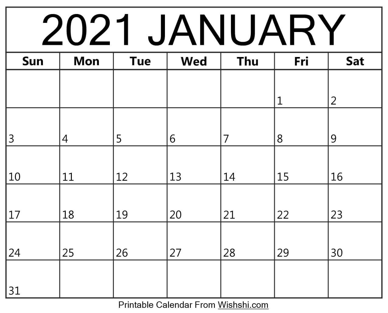 January 2021 Calendar Printable Free Monthly / January