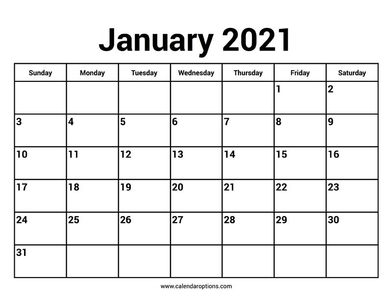 January 2021 Calendars - Calendar Options