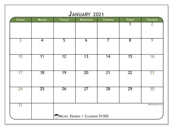 "January 2021 Calendars ""Sunday - Saturday"" - Michel Zbinden En"