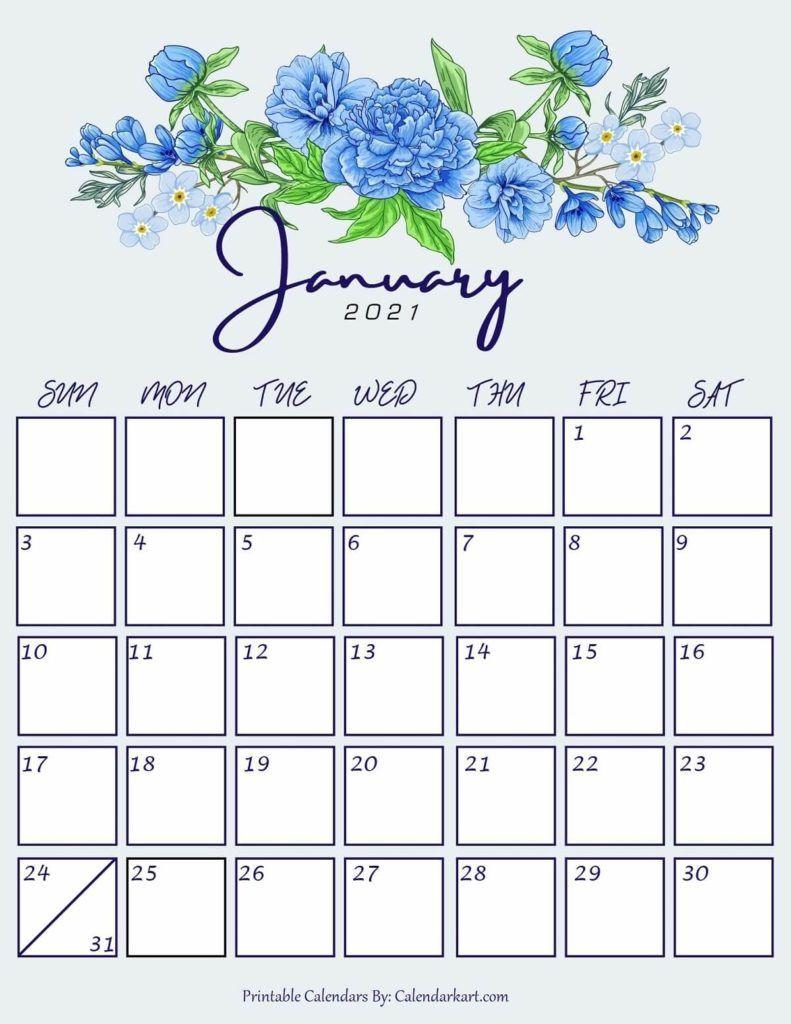 January 2021 Floral Pretty Calendar | Printable Calendar