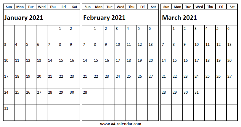 January To March 2021 Calendar A4 - Printable Blank