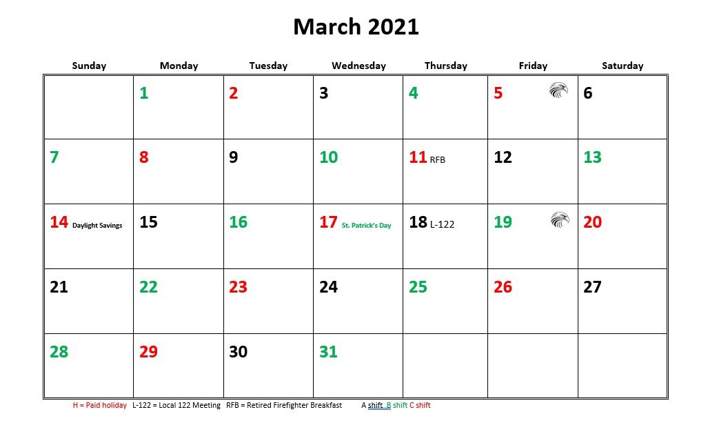 Jfrd 56 Hour Firefighter Shift Calendar 2021