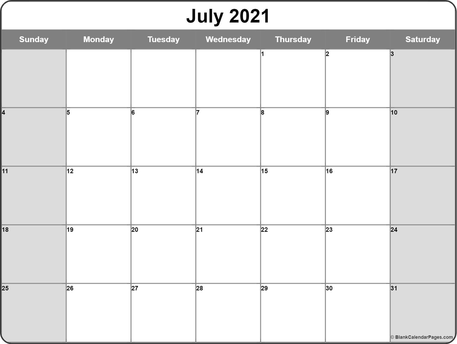 July 2021 Calendar   Free Printable Calendar Templates