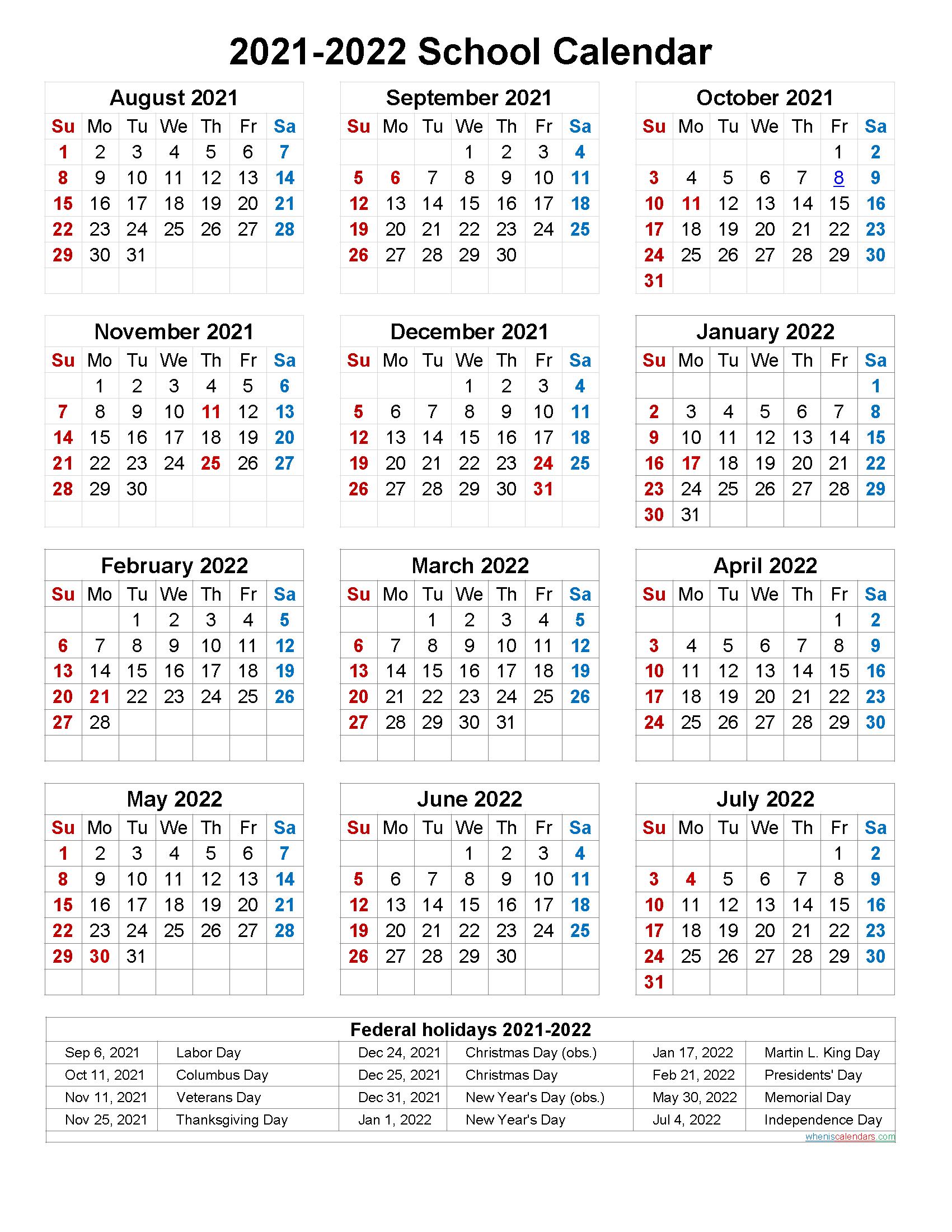 July 2021-June 2022 Printable Calendar   Free Printable