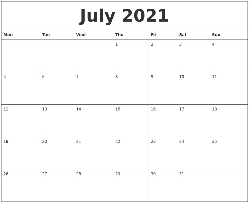 July Calendar 2021 Printable Big Numbers | Month Calendar