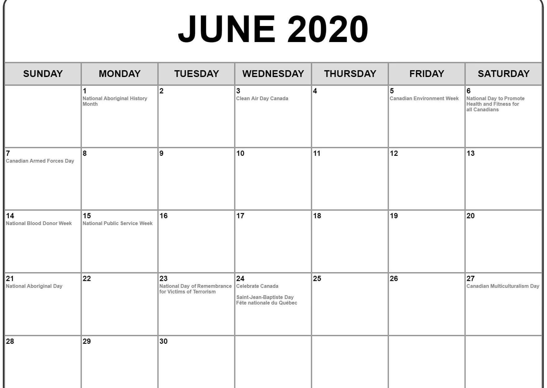 June 2020 Calendar With Holidays | Calendar Template