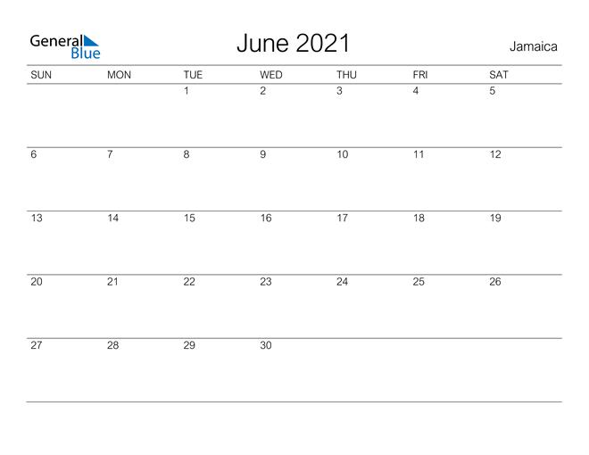 June 2021 Calendar - Jamaica