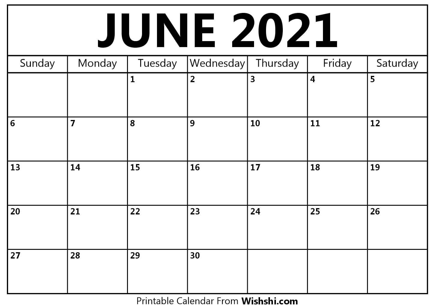 June 2021 Calendar Printable - Free Printable Calendars June 2021 Calendar Printable