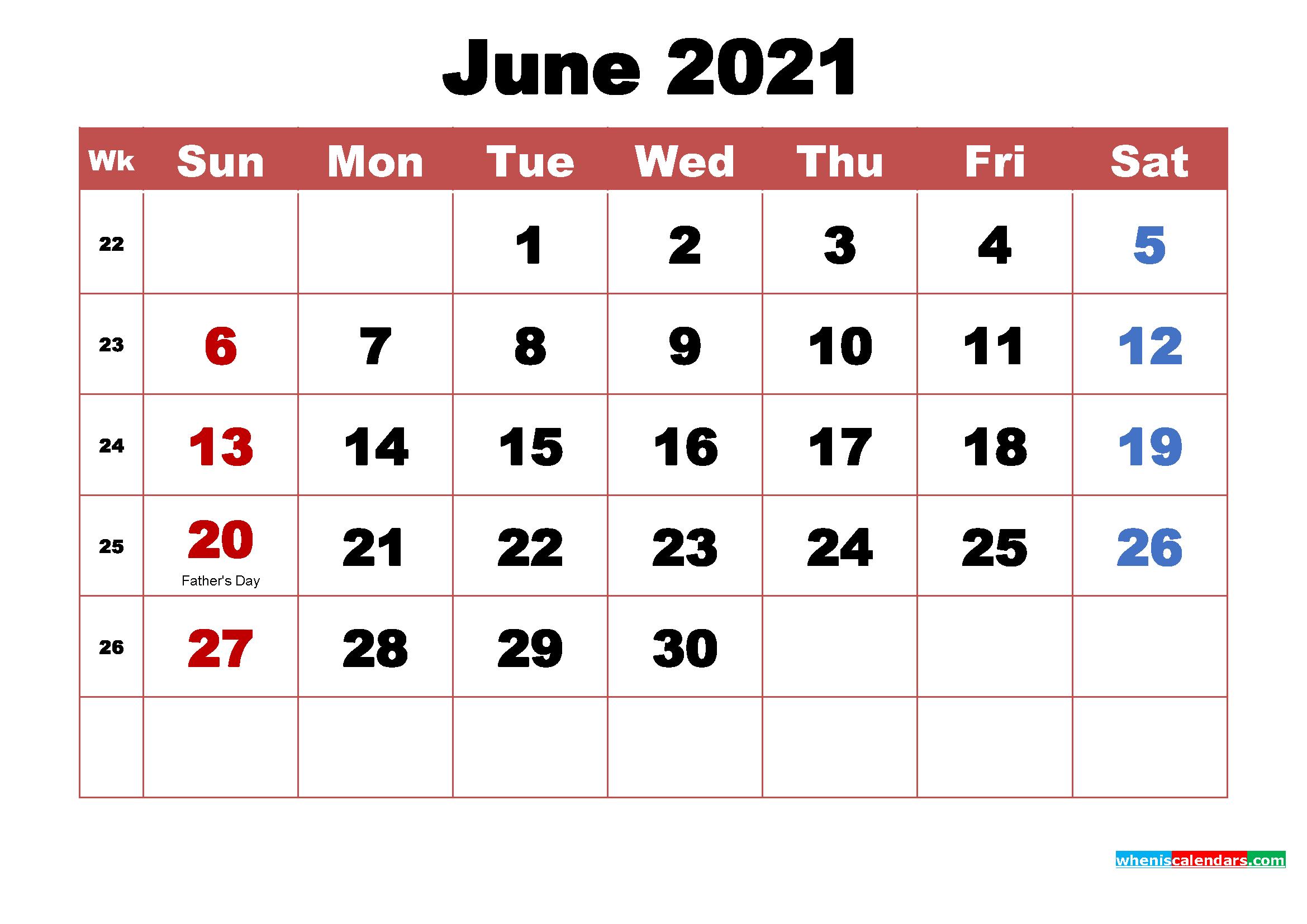 June 2021 Calendar With Holidays   Free 2021 Printable