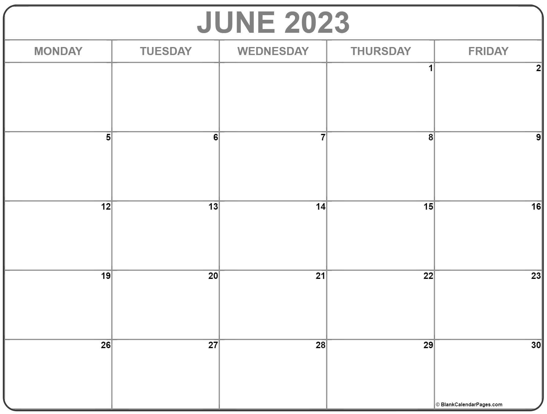 June 2023 Monday Calendar | Monday To Sunday
