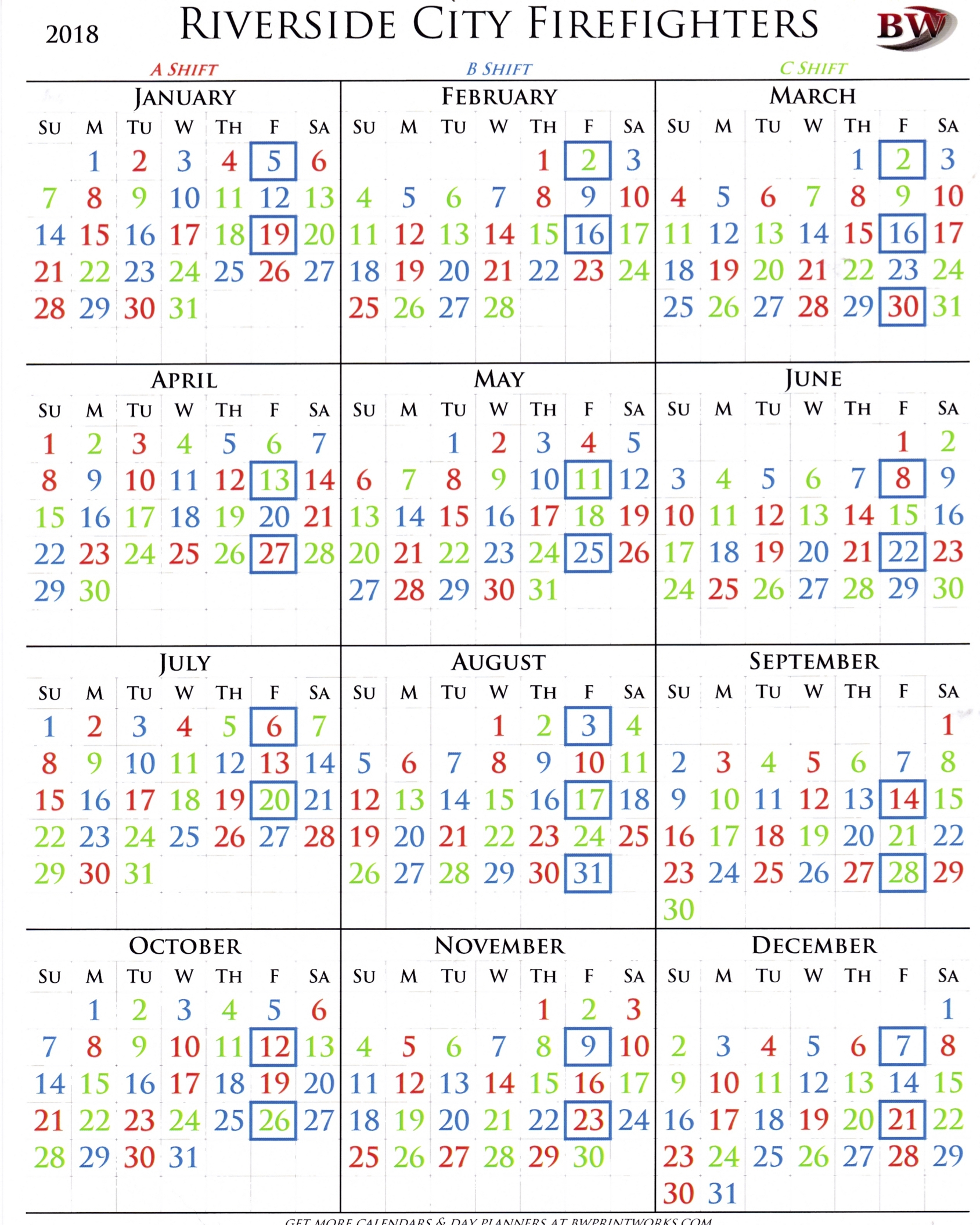 La City Fire Shift Calendar 2019   Qualads