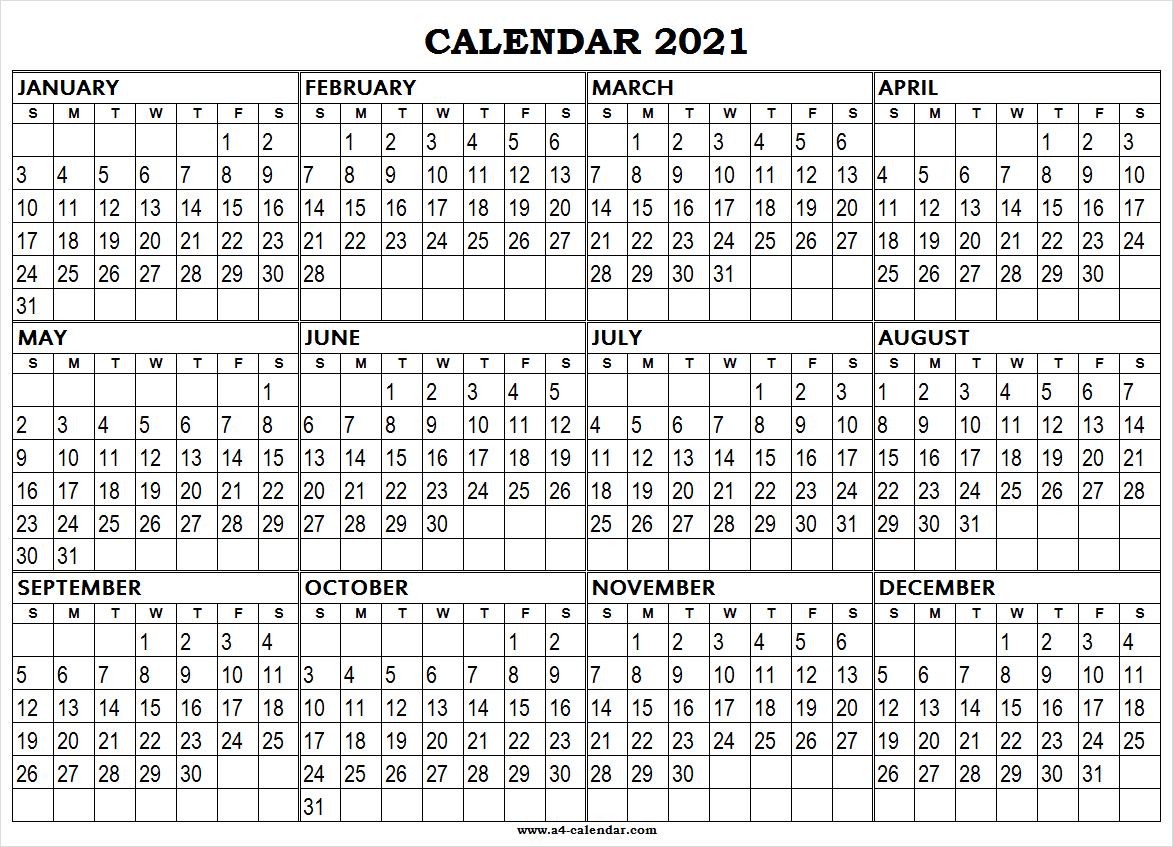 Large Printable 2021 Calendar - A4 Calendar