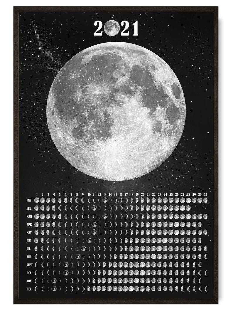 Lunar Calendar 2021 Moon Phase Wall Calendar Galaxy Print