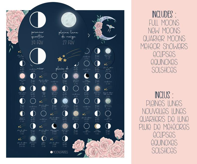 Lunar Calendar 2021 Moon Phases Poster Printable Witch   Etsy