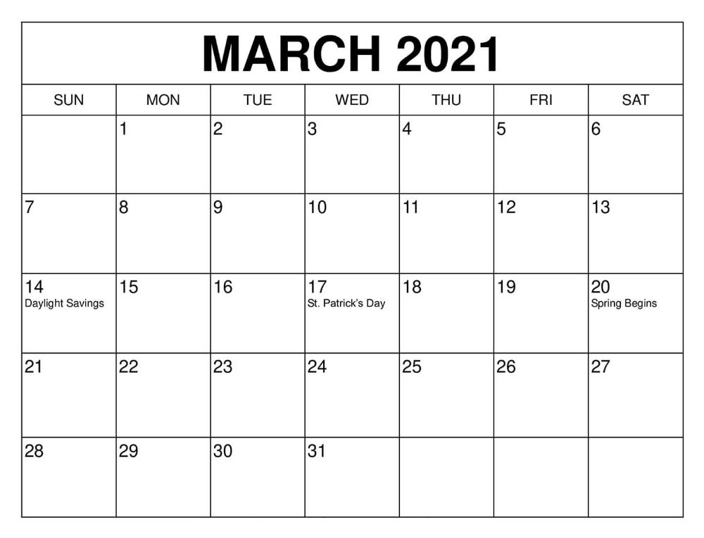 March 2021 Calendar Free Word Template - Printable Blank