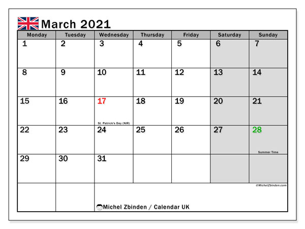March 2021 Calendar, Uk - Michel Zbinden En
