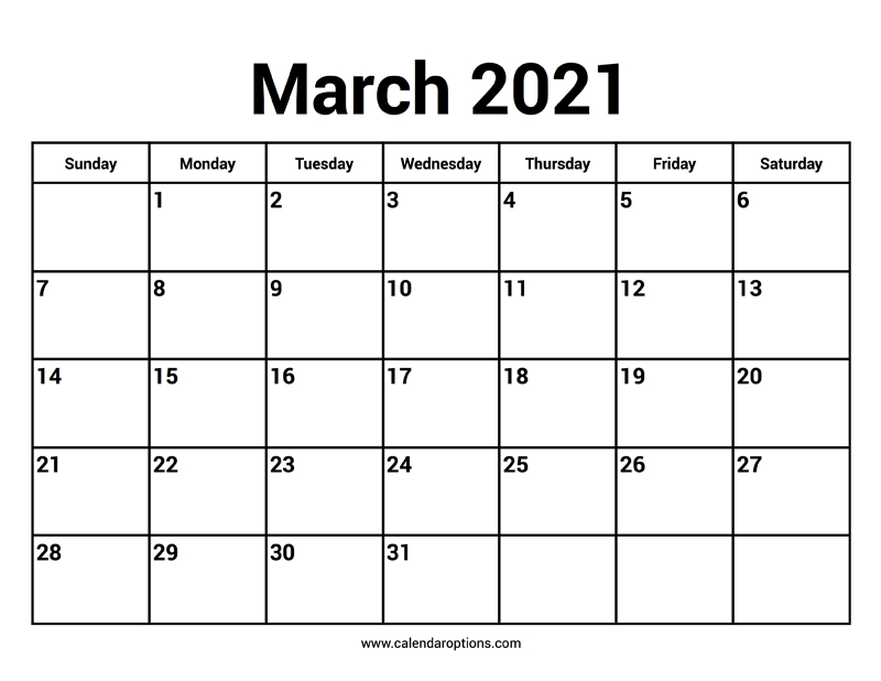 March 2021 Calendars - Calendar Options
