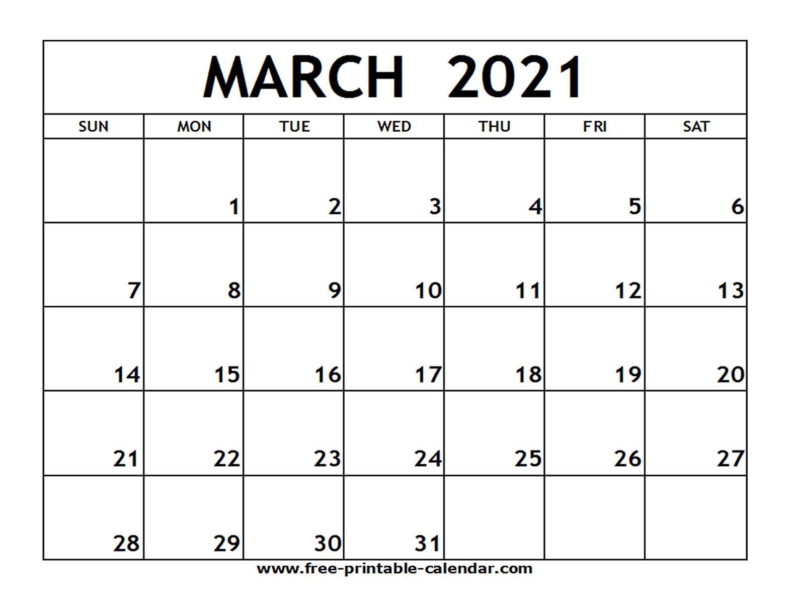 March 2021 Printable Calendar - Free-Printable-Calendar
