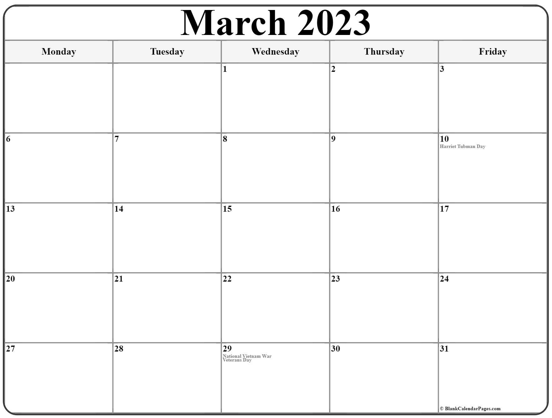 March 2023 Monday Calendar | Monday To Sunday