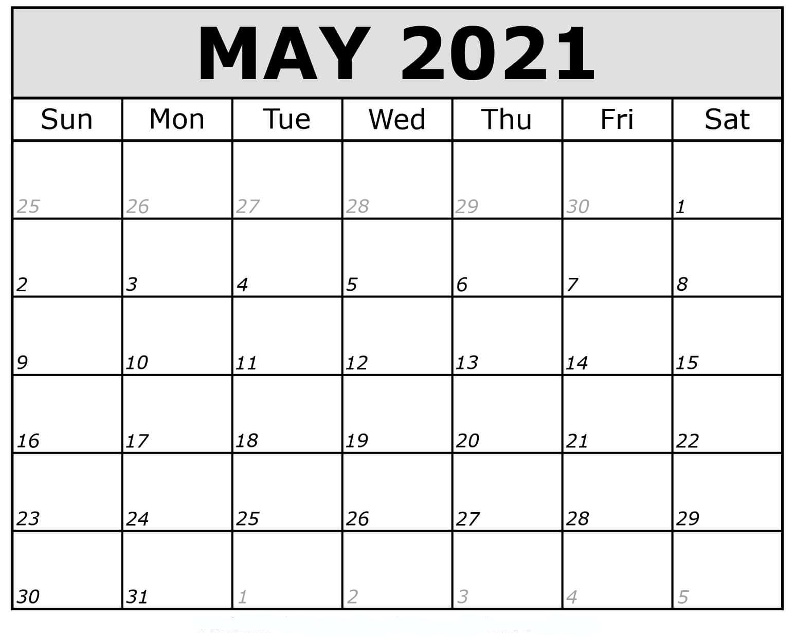 May 2021 Calendar Printable Pdf - Mycalendarlabs
