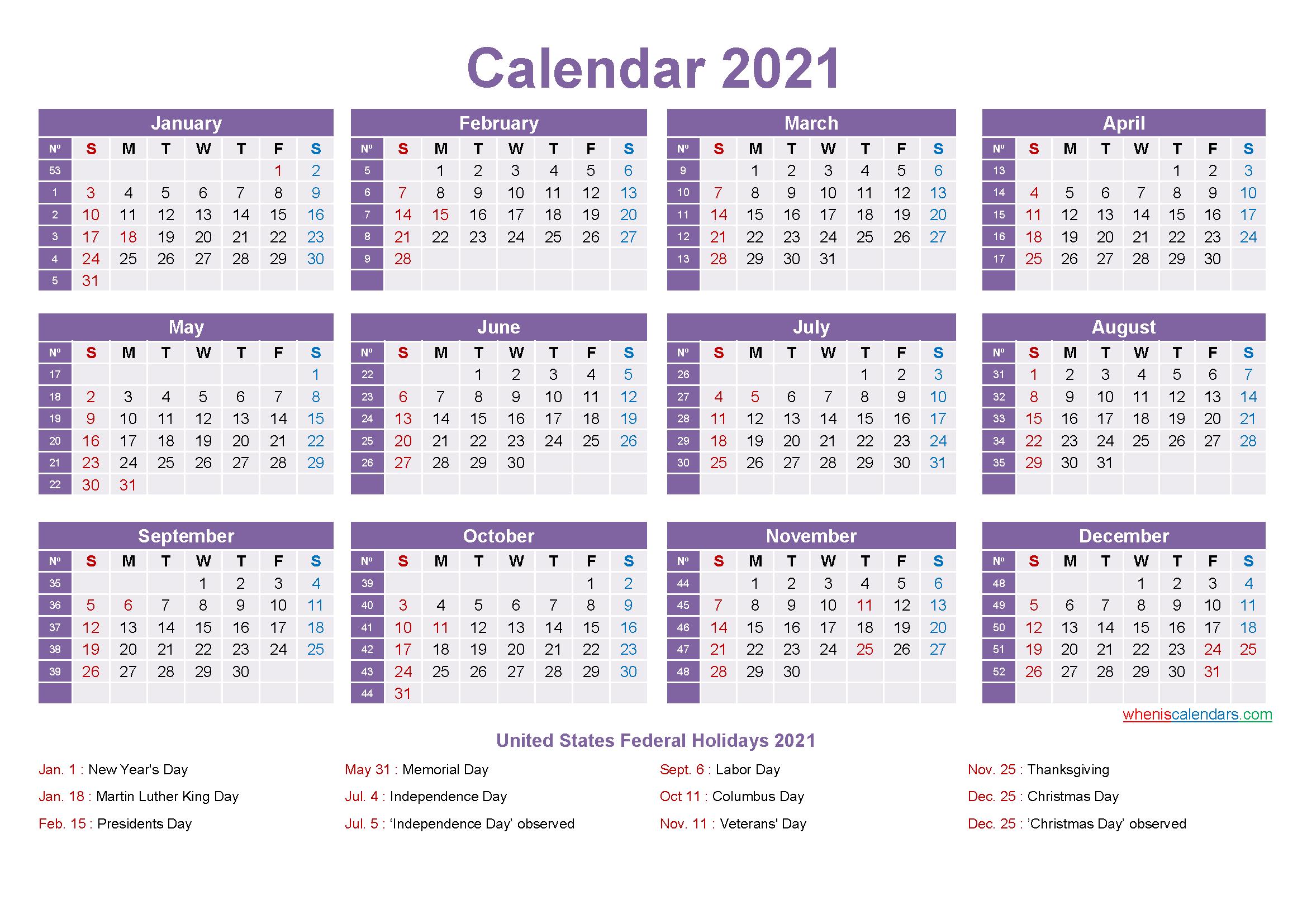 Mini Desk Calendar 2021 Free Printable