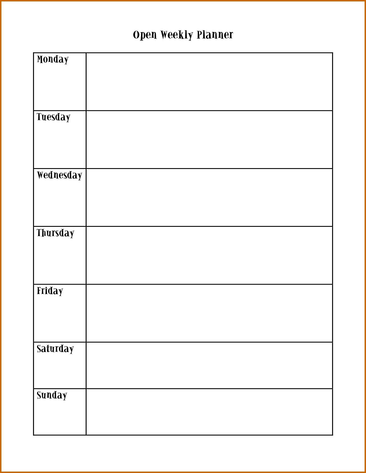 Monday Through Friday Calendar Template | Calendar Template Printable