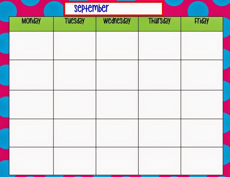 Monday Through Friday Calendar Template | Weekly Calendar Template, Calendar Printables, Blank