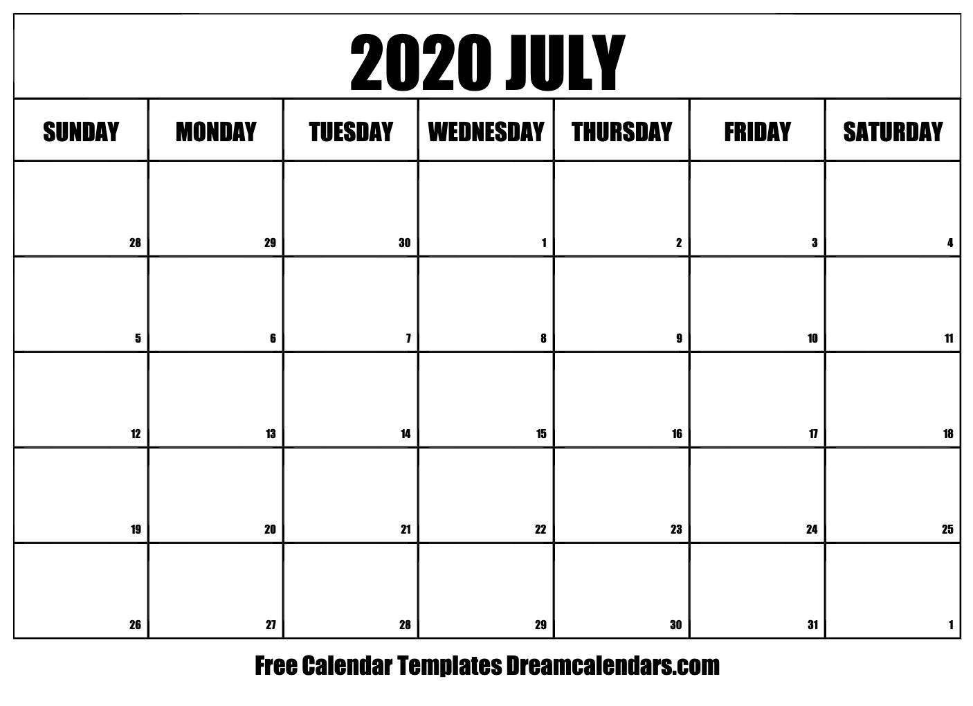 Monday Through Friday Monthly Calendar   Ten Free