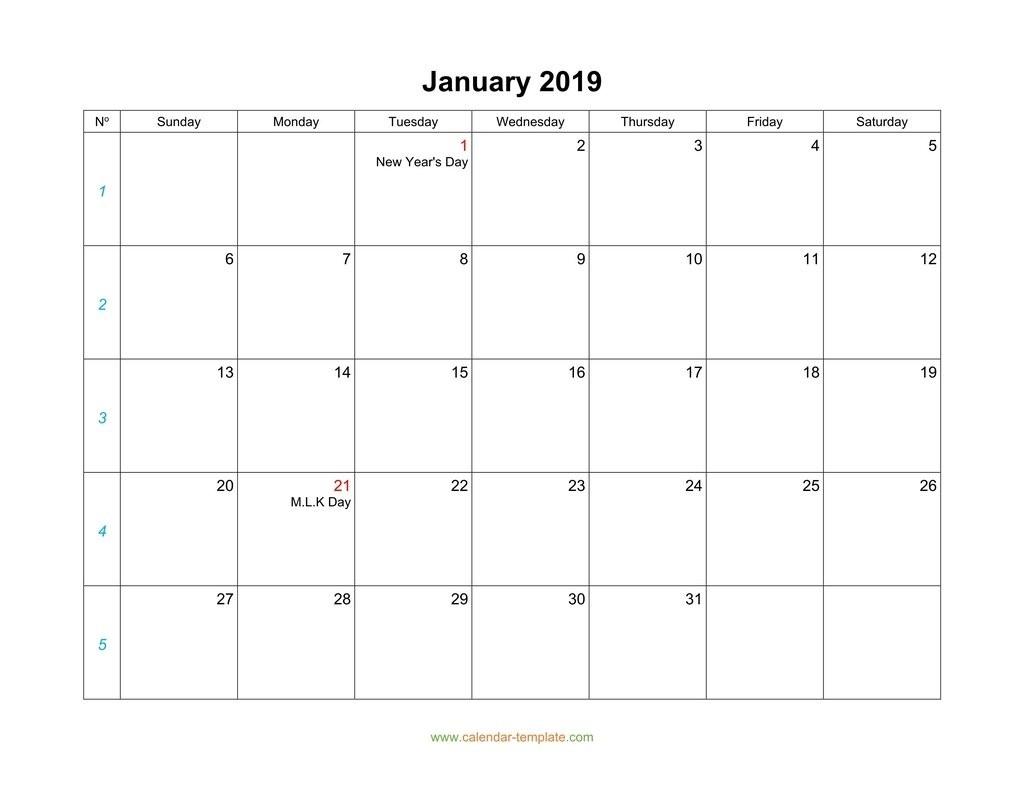 Monday To Friday Monthly Calendar   Calendar Template