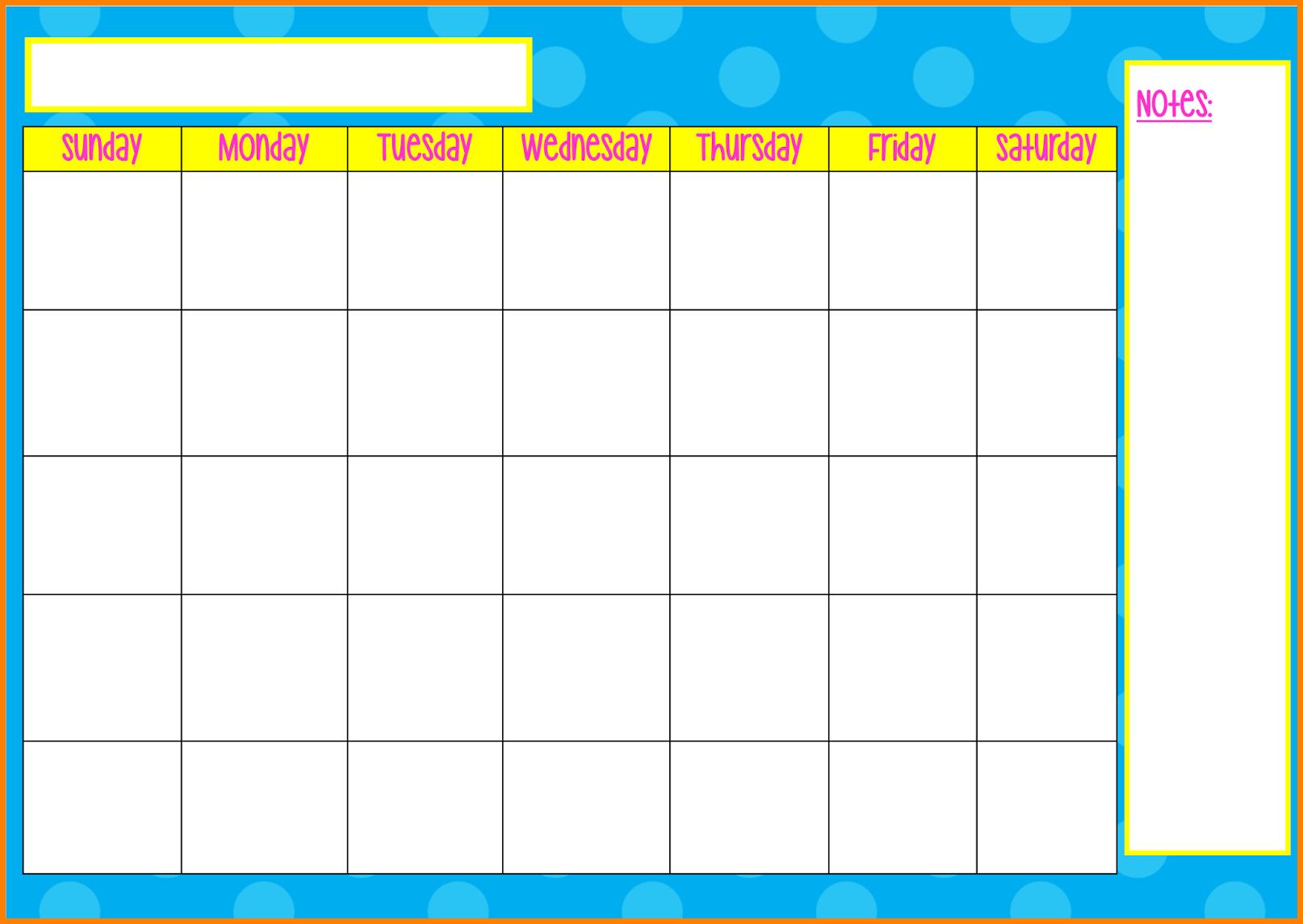 Monday To Friday Tempate Printable :-Free Calendar Template