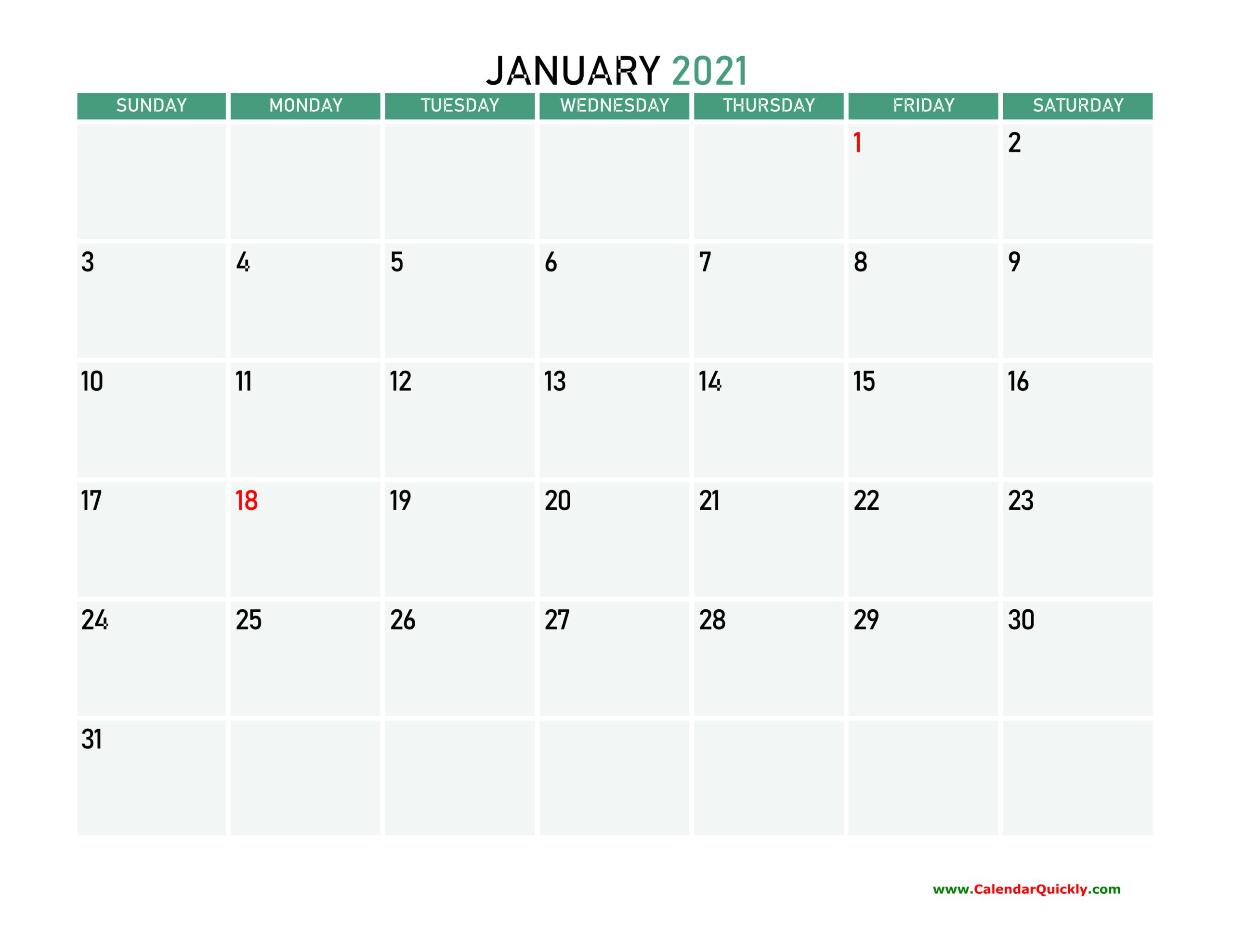Monthly 2021 Printable Calendar   Calendar Quickly