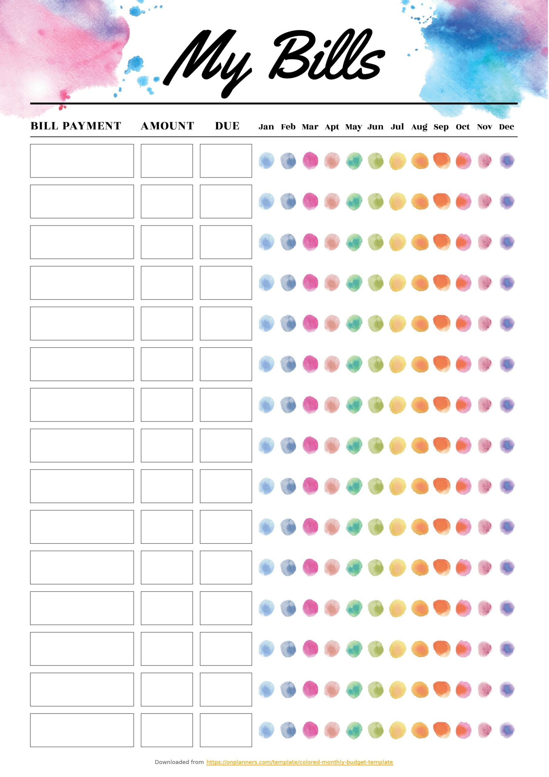 Monthly Bill Template Free Printable - Calendar Inspiration Design